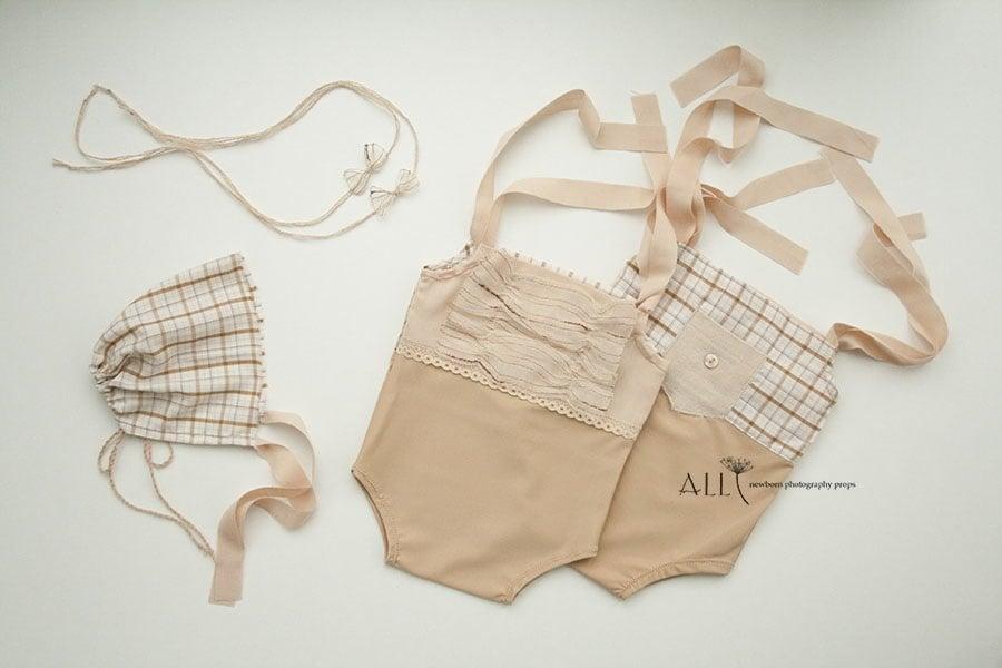8-8-romper-reversible-onesie-sunsuit-bonnet-hat-headband-tieback-girl-boy-all-newborn-props-photo-photography-prop-caramel-brown